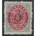 DENMARK - 1870 4Sk grey/red Numeral, perf. 12½:12½, used – Facit # 26