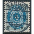 DENMARK - 1902 4øre grey/blue Numeral, perf. 12¾, 3rd crown watermark, used – Facit # 39b