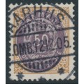 DENMARK - 1903 50øre lilac/brown Numeral, perf. 12¾, 3rd crown watermark, used – Facit # 44b