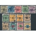 DENMARK - 1918 27øre overprints on Newspaper Stamps (Avisporto) set of 13, used – Facit # 181-193