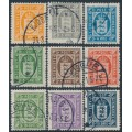 DENMARK - 1914-1923 1øre to 20øre Officials (Tjenstemærke) set of 9, crosses watermark, used – Facit # TJ16-TJ24