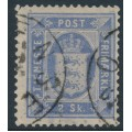 DENMARK - 1871 2Sk ultramarine Official (Tjenstemærke), perf. 14:13½, used – Facit # TJ1a