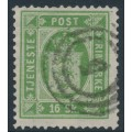 DENMARK - 1871 16Sk green Official (Tjenstemærke), perf. 14:13½, used – Facit # TJ3