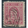 DENMARK - 1871 4Sk carmine-rose Official (Tjenstemærke), perf. 12¾:12¾, used – Facit # TJ4