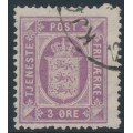 DENMARK - 1875 3øre red-lilac Official (Tjenstemærke), perf. 14:13½, used – Facit # TJ6b
