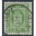 DENMARK - 1881 32øre yellow-green Official (Tjenstemærke), perf. 14:13½, used – Facit # TJ9b