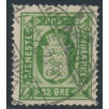 DENMARK - 1875 32øre green Official, perf. 14:13½, inverted watermark, used – Facit # TJ9avm