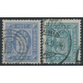 DENMARK - 1875 4øre ultramarine & light greenish blue Officials, perf. 14:13½, used – Facit # TJ7a+7b