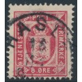 DENMARK - 1899 8øre carmine-red Official, perf. 12¾:12¾, misplaced watermark, used – Facit # TJ14