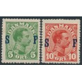 DENMARK - 1917 5øre green & 10øre red King Christian X overprinted SF, MH – Facit # 168-169