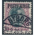 DENMARK - 1920 50øre black/burgundy King Christian X with POSTFÆRGE overprint, used – Facit # PF5