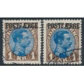 DENMARK - 1924 1Kr brown/blue King Christian X, types I & II, POSTFÆRGE overprint, used – Facit # PF7a+b