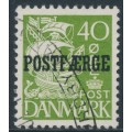 DENMARK - 1940 40øre green Caravelle (plate II) with POSTFÆRGE overprint, used – Facit # PF29b