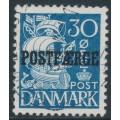 DENMARK - 1940 30øre blue Caravelle (plate II) with POSTFÆRGE overprint, used – Facit # PF27b