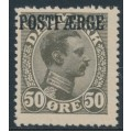 DENMARK - 1922 50øre deep olive-grey King Christian X with POSTFÆRGE overprint, MH – Facit # PF6a