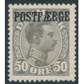 DENMARK - 1923 50øre grey King Christian X with POSTFÆRGE overprint, MH – Facit # PF6b