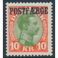 DENMARK - 1930 10Kr red/green King Christian X with POSTFÆRGE overprint, MNH – Facit # PF9