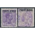 DENMARK - 1919 15øre violet-lilac & grey-lilac King Christian X, POSTFÆRGE overprint, used – Facit # PF2a+b