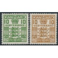 DENMARK - 1926 10øre green & 10øre brown Gebyrmærke, crosses watermark, MNH – Facit # GB2+GB3