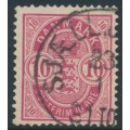 DENMARK - 1886 10øre aniline rose Coat of Arms, perf. 14:13½, used – Facit # 54b