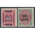 DENMARK - 1915 80øre on 8øre red Official and 12øre grey/red Numeral, MH – Facit # 49+123
