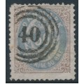 DENMARK - 1875 50øre blue-violet/brown Numeral, perf. 14:13½, used – Facit # 36a