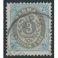 DENMARK - 1875 3øre grey/ultramarine Numeral, perf. 14:13½, used – Facit # 28d