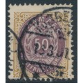 DENMARK - 1897 50øre lilac/brown Numeral, inverted frame, p.12¾, used – Facit # 44aa