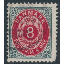 DENMARK - 1902 8øre grey/red Numeral, perf. 12¾, 3rd crown watermark, used – Facit # 40b