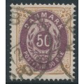 DENMARK - 1903 50øre lilac/brown Numeral, perf. 12¾, 2nd crown watermark, used – Facit # 44a