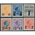 DENMARK - 1926-1927 overprints on King Christian X & Numeral issues, MH – Facit # 170-172+174-176