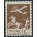 DENMARK - 1929 1Kr brown Airmail, mint never hinged – Facit # 217