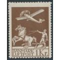 DENMARK - 1929 1Kr brown Airmail, mint never hinged – Facit # 217