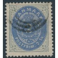 DENMARK - 1871 2Sk dull ultramarine/greenish grey Numeral, perf. 14:13½, used – Facit # 20c