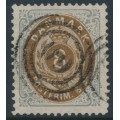 DENMARK - 1871 8Sk chocolate brown/bluish grey Numeral, perf. 14:13½, used – Facit # 23a