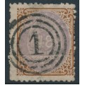 DENMARK - 1870 48Sk lilac/brown Numeral, perf. 12½, inverted watermark, used – Facit # 27vm
