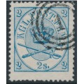 DENMARK - 1865 2Sk bright blue Crown, perf. 13:12½, used – Facit # 11a
