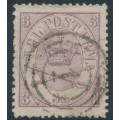 DENMARK - 1865 3Sk lilac Crown, perf. 13:12½, used – Facit # 12a