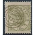 DENMARK - 1864 16Sk greenish olive Crown, perf. 13:12½, used – Facit # 15c