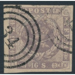 DENMARK - 1857 16Sk greyish violet Crown, dotted background, imperforate, used – Facit # 6c
