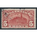 DENMARK - 1915 5Kr brown-red Copenhagen GPO with crosses watermarks, used – Facit # 121