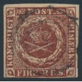 DENMARK - 1853 4 RBS red-brown Crown, imperforate (Thiele IIB printing), used – Facit # 2III