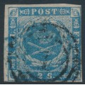 DENMARK - 1855 2Sk greenish blue Crown with dotted background, imperforate, used – Facit # 3b