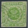 DENMARK - 1857 8Sk yellow-green Crown with dotted background, imperforate, used – Facit # 5a