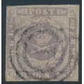 DENMARK - 1857 16Sk grey-violet Crown with dotted background, imperforate, used – Facit # 6c