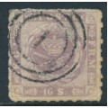 DENMARK - 1863 16Sk lilac Crown with dotted background, rouletted, used – Facit # 10