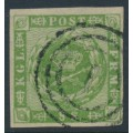 DENMARK - 1858 8Sk green Crown, imperforate with solid lines background, used – Facit # 8