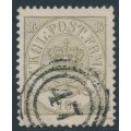 DENMARK - 1864 16Sk greenish dark grey Crown, perf. 13:12½, used – Facit # 15a