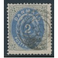 DENMARK - 1871 2Sk ultramarine/light blue-grey Numeral, perf. 14:13½, used – Facit # 20a