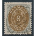 DENMARK - 1871 8Sk yellowish brown/grey Numeral, perf. 14:13½, used – Facit # 23b